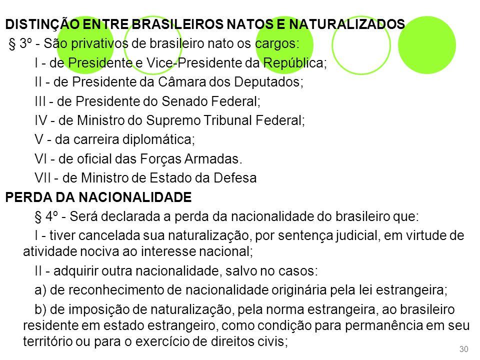 DISTINÇÃO ENTRE BRASILEIROS NATOS E NATURALIZADOS § 3º - São privativos de brasileiro nato os cargos: I - de Presidente e Vice-Presidente da República