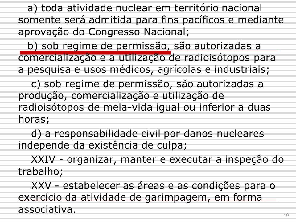 a) toda atividade nuclear em território nacional somente será admitida para fins pacíficos e mediante aprovação do Congresso Nacional; b) sob regime d