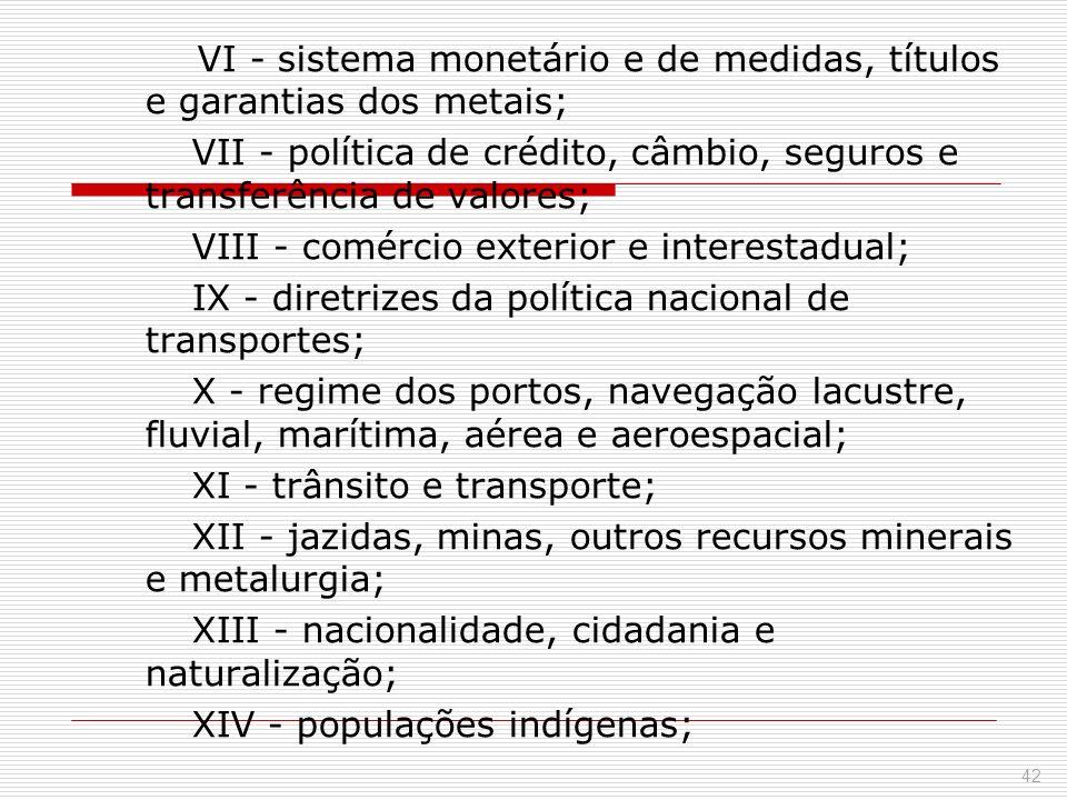 VI - sistema monetário e de medidas, títulos e garantias dos metais; VII - política de crédito, câmbio, seguros e transferência de valores; VIII - com