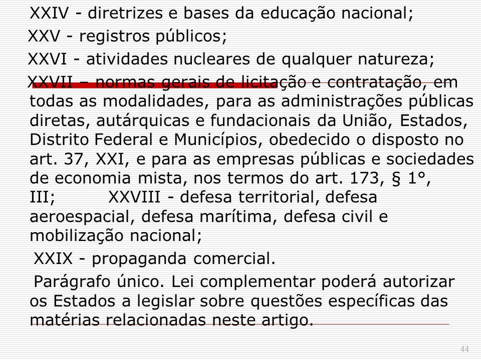 XXIV - diretrizes e bases da educação nacional; XXV - registros públicos; XXVI - atividades nucleares de qualquer natureza; XXVII – normas gerais de l
