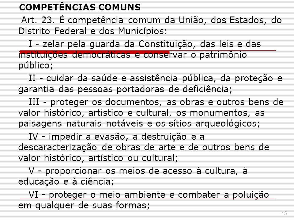 COMPETÊNCIAS COMUNS Art. 23. É competência comum da União, dos Estados, do Distrito Federal e dos Municípios: I - zelar pela guarda da Constituição, d