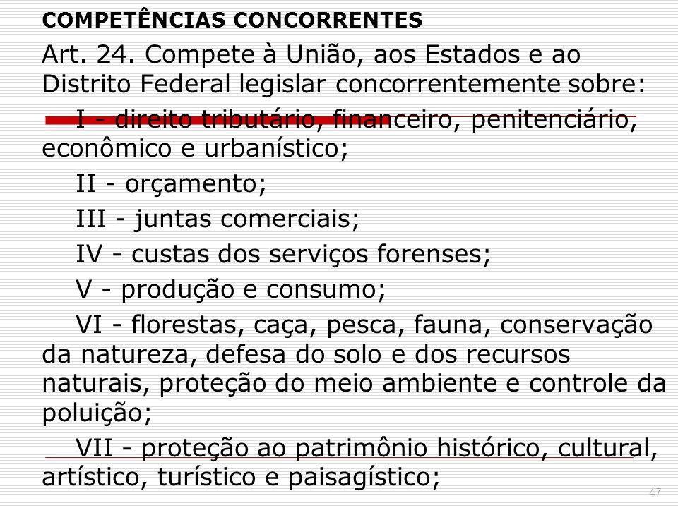 COMPETÊNCIAS CONCORRENTES Art. 24. Compete à União, aos Estados e ao Distrito Federal legislar concorrentemente sobre: I - direito tributário, finance