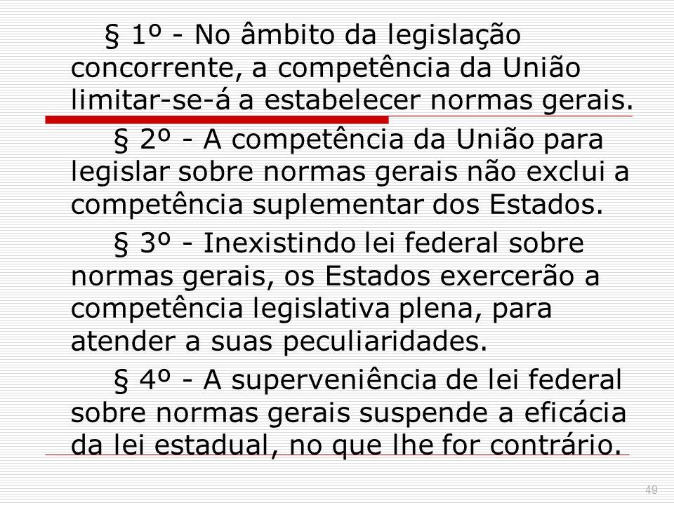 § 1º - No âmbito da legislação concorrente, a competência da União limitar-se-á a estabelecer normas gerais. § 2º - A competência da União para legisl