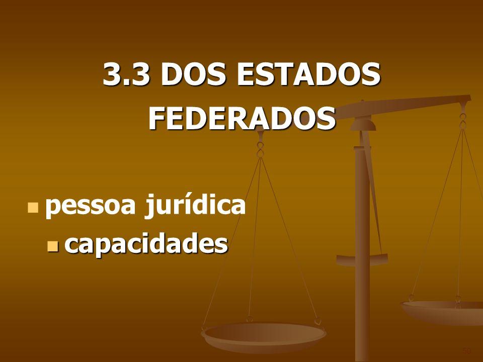 3.3 DOS ESTADOS FEDERADOS 50 pessoa jurídica capacidades capacidades