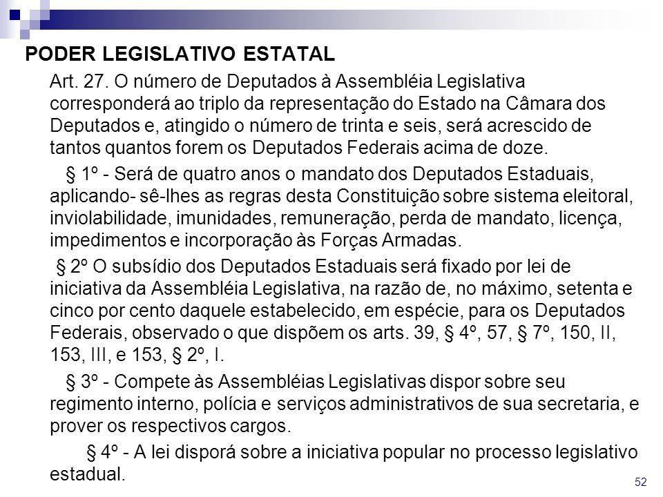 PODER LEGISLATIVO ESTATAL Art. 27. O número de Deputados à Assembléia Legislativa corresponderá ao triplo da representação do Estado na Câmara dos Dep