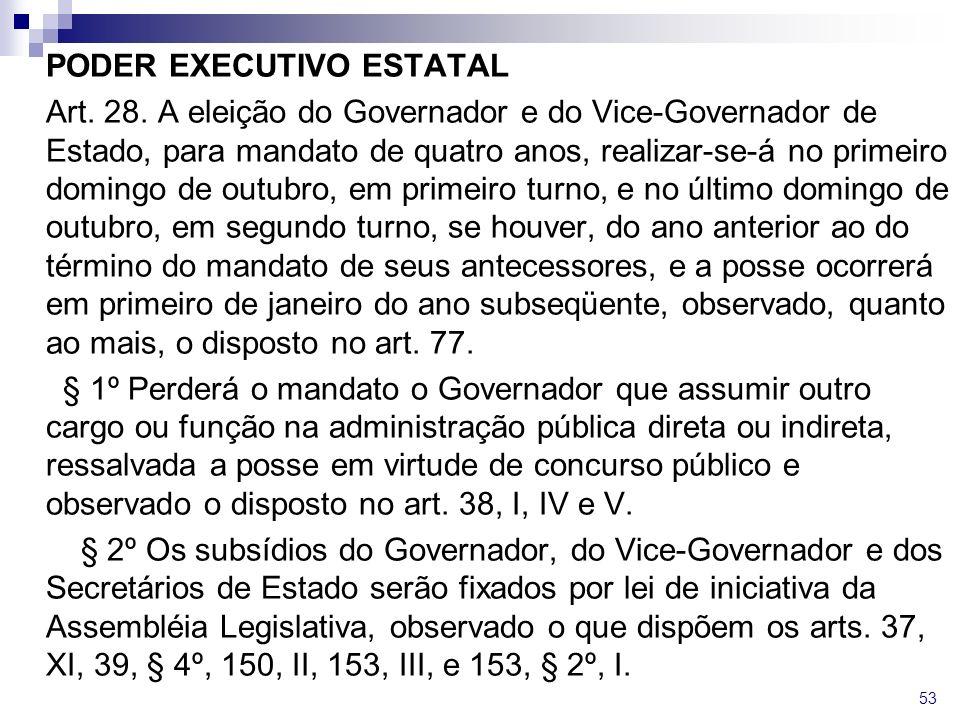 PODER EXECUTIVO ESTATAL Art. 28. A eleição do Governador e do Vice-Governador de Estado, para mandato de quatro anos, realizar-se-á no primeiro doming