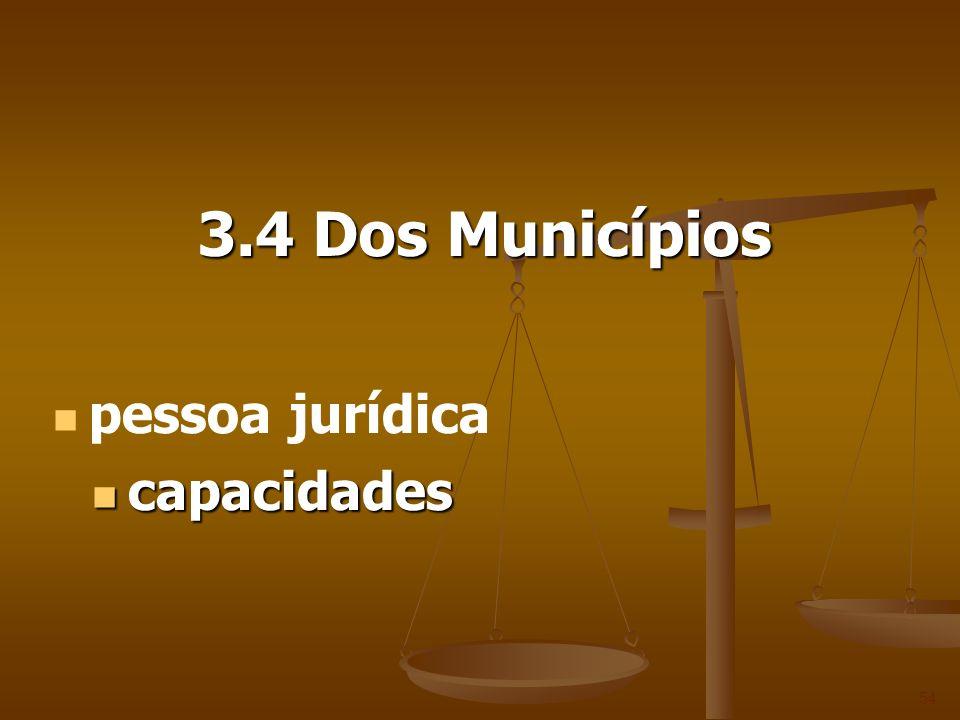 3.4 Dos Municípios 54 pessoa jurídica capacidades capacidades