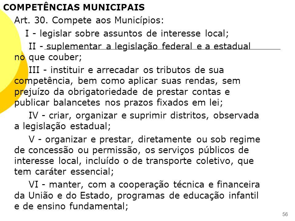 COMPETÊNCIAS MUNICIPAIS Art. 30. Compete aos Municípios: I - legislar sobre assuntos de interesse local; II - suplementar a legislação federal e a est