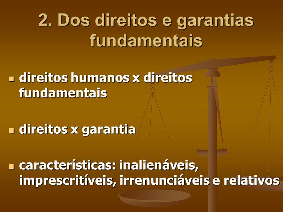2.1 Dos direitos e deveres individuais e coletivos direitos de 1ª geração ou 1ª dimensão direitos de 1ª geração ou 1ª dimensão direitos de defesa direitos de defesa