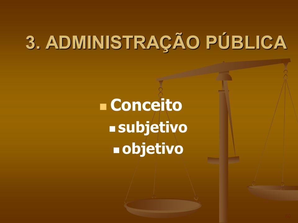 3. ADMINISTRAÇÃO PÚBLICA 60 Conceito subjetivo objetivo