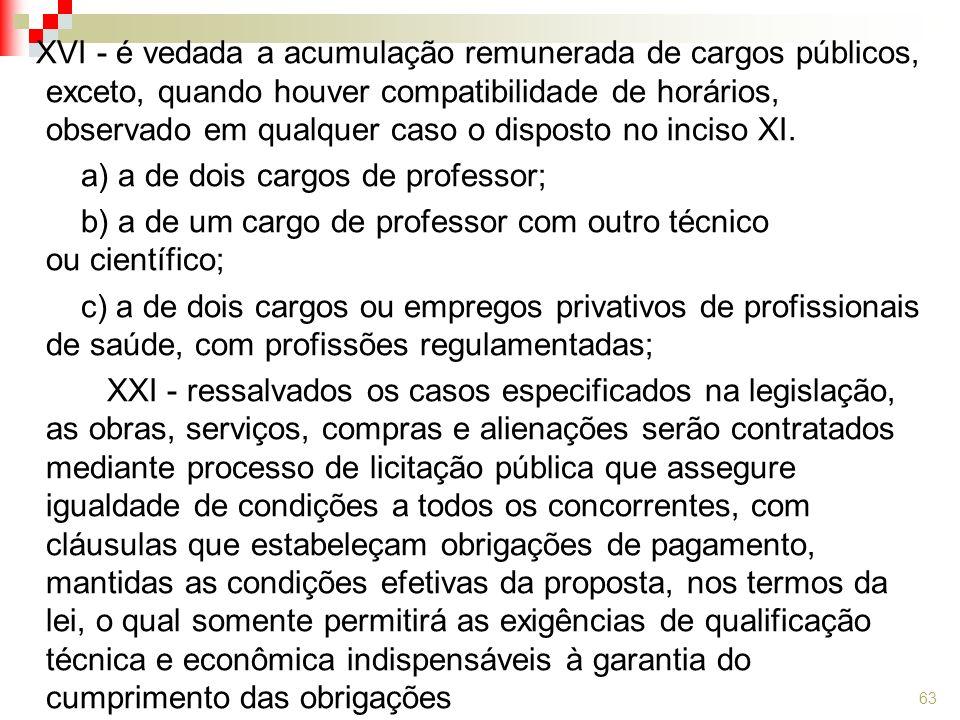 XVI - é vedada a acumulação remunerada de cargos públicos, exceto, quando houver compatibilidade de horários, observado em qualquer caso o disposto no