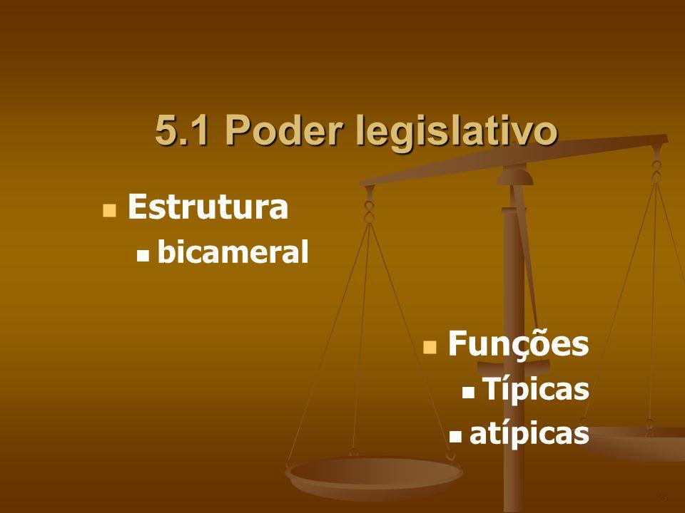 5.1 Poder legislativo 66 Estrutura bicameral Funções Típicas atípicas