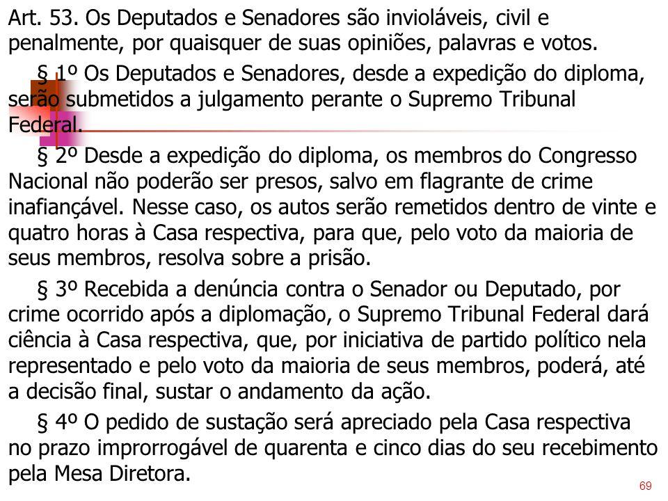 Art. 53. Os Deputados e Senadores são invioláveis, civil e penalmente, por quaisquer de suas opiniões, palavras e votos. § 1º Os Deputados e Senadores