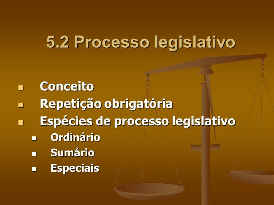 5.2 Processo legislativo 5.2 Processo legislativo Conceito Conceito Repetição obrigatória Repetição obrigatória Espécies de processo legislativo Espéc