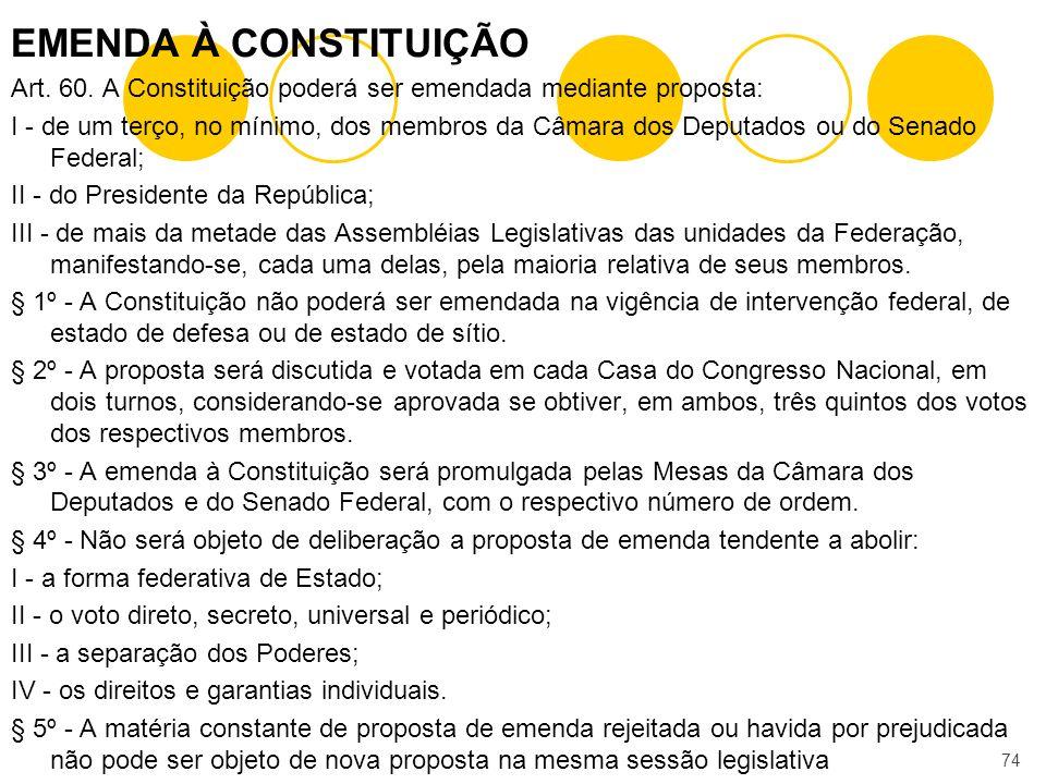 EMENDA À CONSTITUIÇÃO Art. 60. A Constituição poderá ser emendada mediante proposta: I - de um terço, no mínimo, dos membros da Câmara dos Deputados o