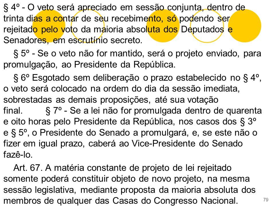 § 4º - O veto será apreciado em sessão conjunta, dentro de trinta dias a contar de seu recebimento, só podendo ser rejeitado pelo voto da maioria abso