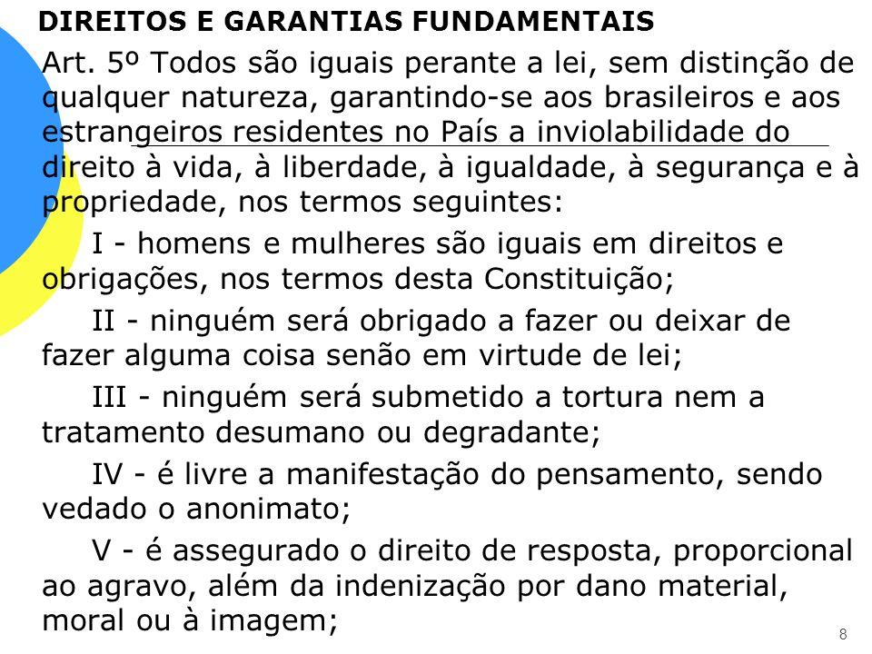 DIREITOS E GARANTIAS FUNDAMENTAIS Art. 5º Todos são iguais perante a lei, sem distinção de qualquer natureza, garantindo-se aos brasileiros e aos estr