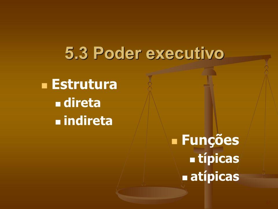 5.3 Poder executivo 81 Estrutura direta indireta Funções típicas atípicas