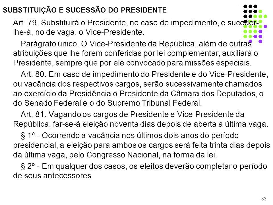 SUBSTITUIÇÃO E SUCESSÃO DO PRESIDENTE Art. 79. Substituirá o Presidente, no caso de impedimento, e suceder- lhe-á, no de vaga, o Vice-Presidente. Pará