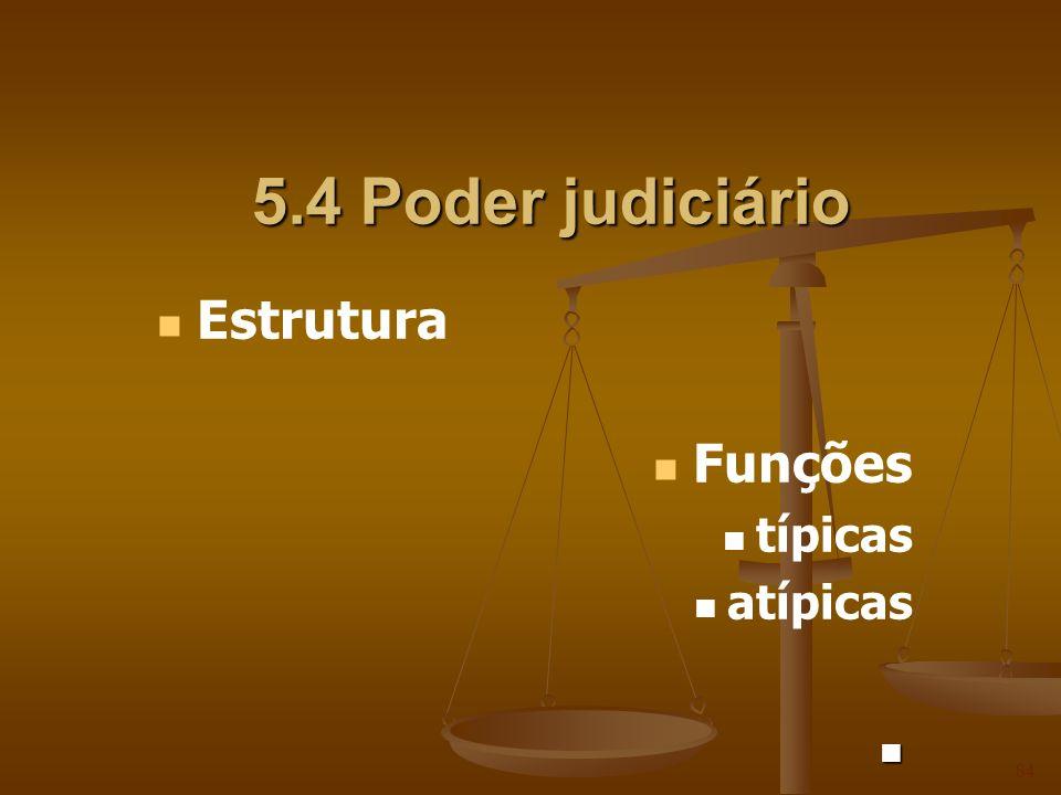 5.4 Poder judiciário 84 Estrutura Funções típicas atípicas