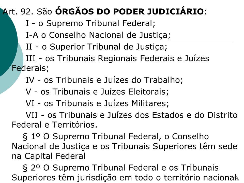 Art. 92. São ÓRGÃOS DO PODER JUDICIÁRIO: I - o Supremo Tribunal Federal; I-A o Conselho Nacional de Justiça; II - o Superior Tribunal de Justiça; III