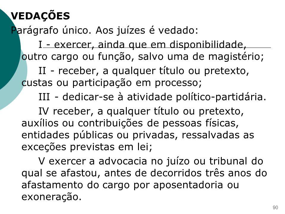 VEDAÇÕES Parágrafo único. Aos juízes é vedado: I - exercer, ainda que em disponibilidade, outro cargo ou função, salvo uma de magistério; II - receber