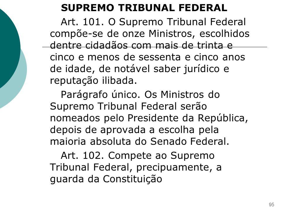 SUPREMO TRIBUNAL FEDERAL Art. 101. O Supremo Tribunal Federal compõe-se de onze Ministros, escolhidos dentre cidadãos com mais de trinta e cinco e men