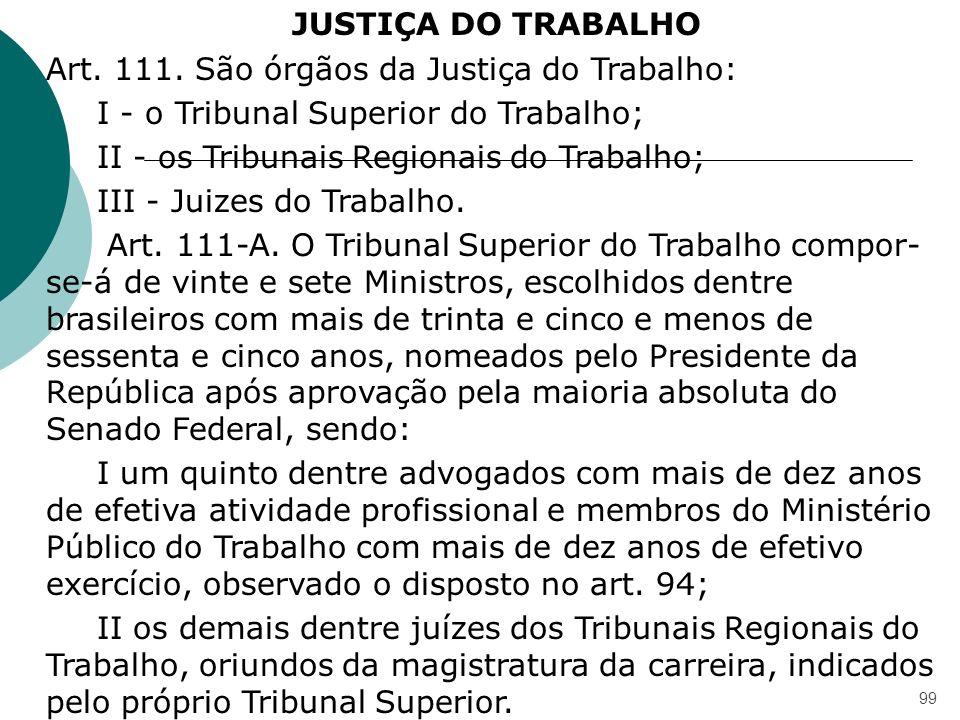 99 JUSTIÇA DO TRABALHO Art. 111. São órgãos da Justiça do Trabalho: I - o Tribunal Superior do Trabalho; II - os Tribunais Regionais do Trabalho; III
