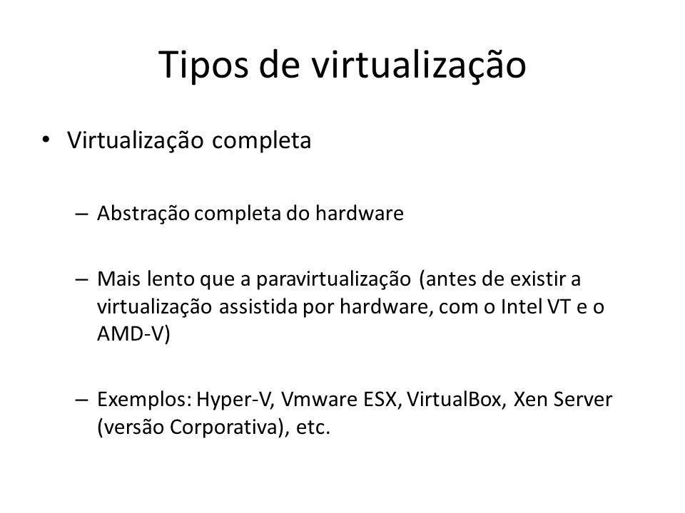 Tipos de virtualização Virtualização completa – Abstração completa do hardware – Mais lento que a paravirtualização (antes de existir a virtualização