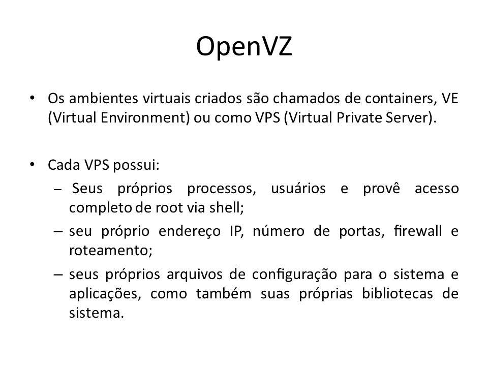 OpenVZ Os ambientes virtuais criados são chamados de containers, VE (Virtual Environment) ou como VPS (Virtual Private Server). Cada VPS possui: – Seu