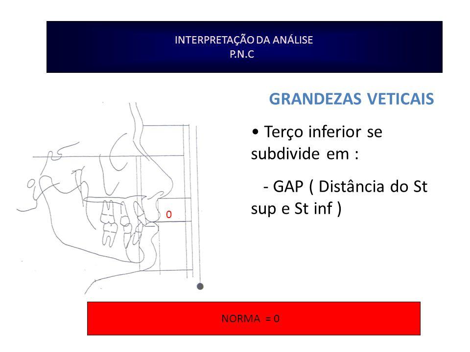 INTERPRETAÇÃO DA ANÁLISE P.N.C GRANDEZAS VETICAIS Terço inferior se subdivide em : - GAP ( Distância do St sup e St inf ) 0 NORMA = 0