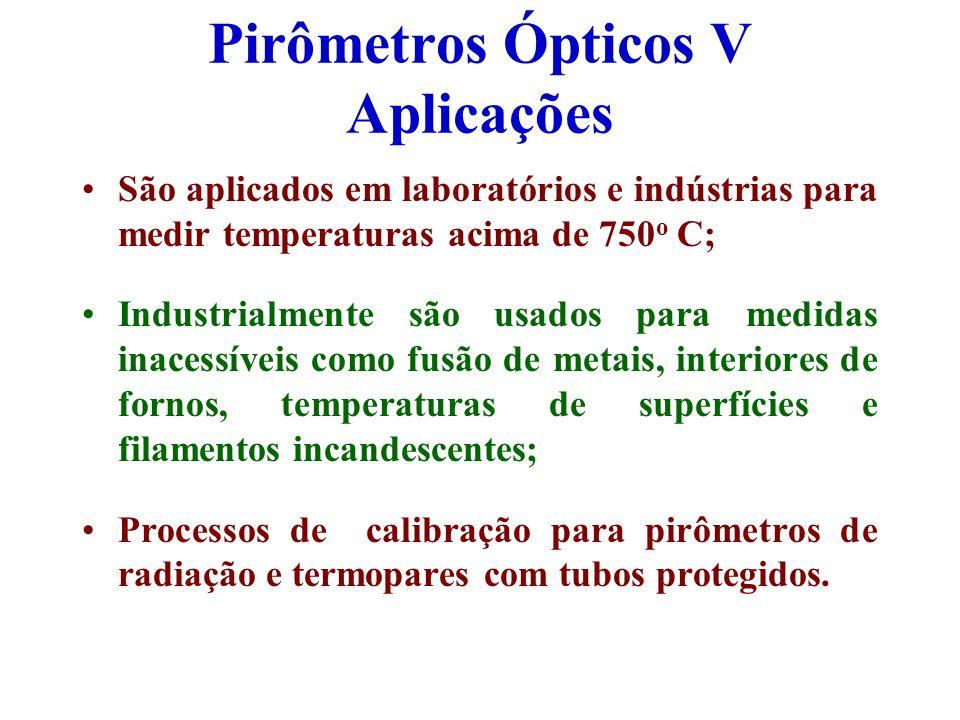 Pirômetros Ópticos V Aplicações São aplicados em laboratórios e indústrias para medir temperaturas acima de 750 o C; Industrialmente são usados para m