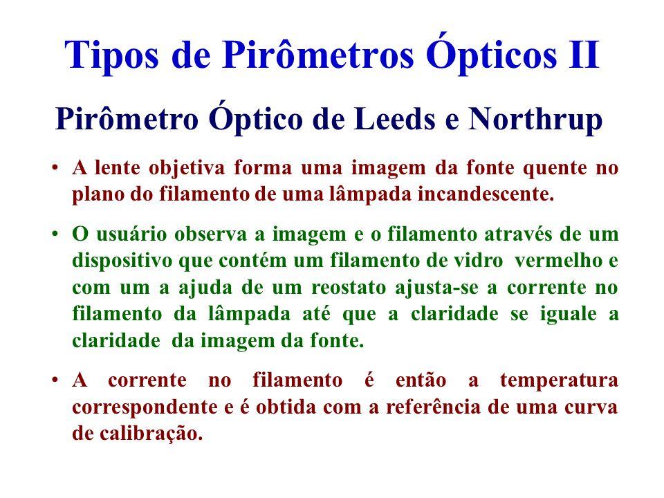 Tipos de Pirômetros Ópticos II Pirômetro Óptico de Leeds e Northrup A lente objetiva forma uma imagem da fonte quente no plano do filamento de uma lâm