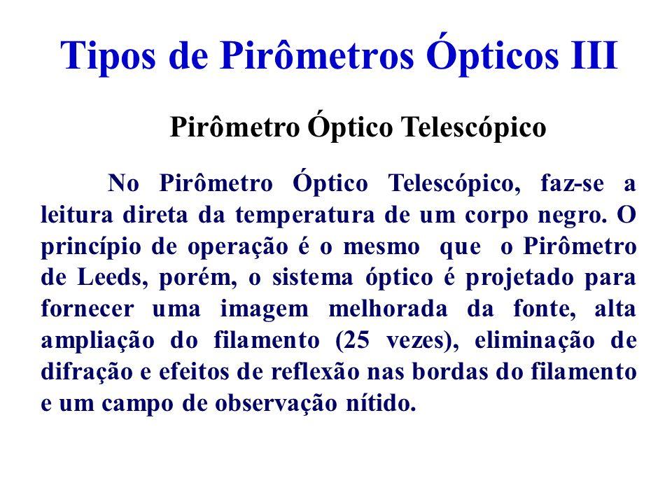 Tipos de Pirômetros Ópticos III Pirômetro Óptico Telescópico No Pirômetro Óptico Telescópico, faz-se a leitura direta da temperatura de um corpo negro