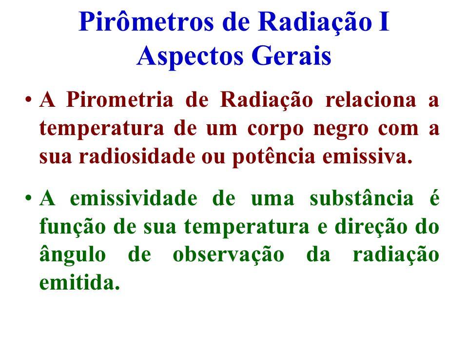 Pirômetros de Radiação I Aspectos Gerais A Pirometria de Radiação relaciona a temperatura de um corpo negro com a sua radiosidade ou potência emissiva