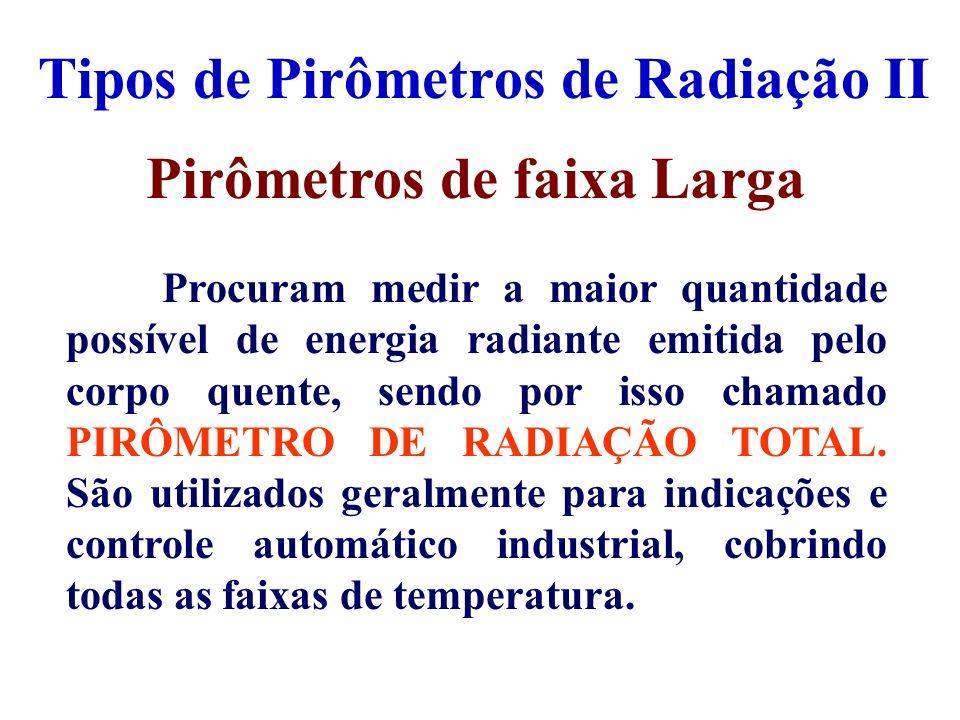 Tipos de Pirômetros de Radiação II Pirômetros de faixa Larga Procuram medir a maior quantidade possível de energia radiante emitida pelo corpo quente,