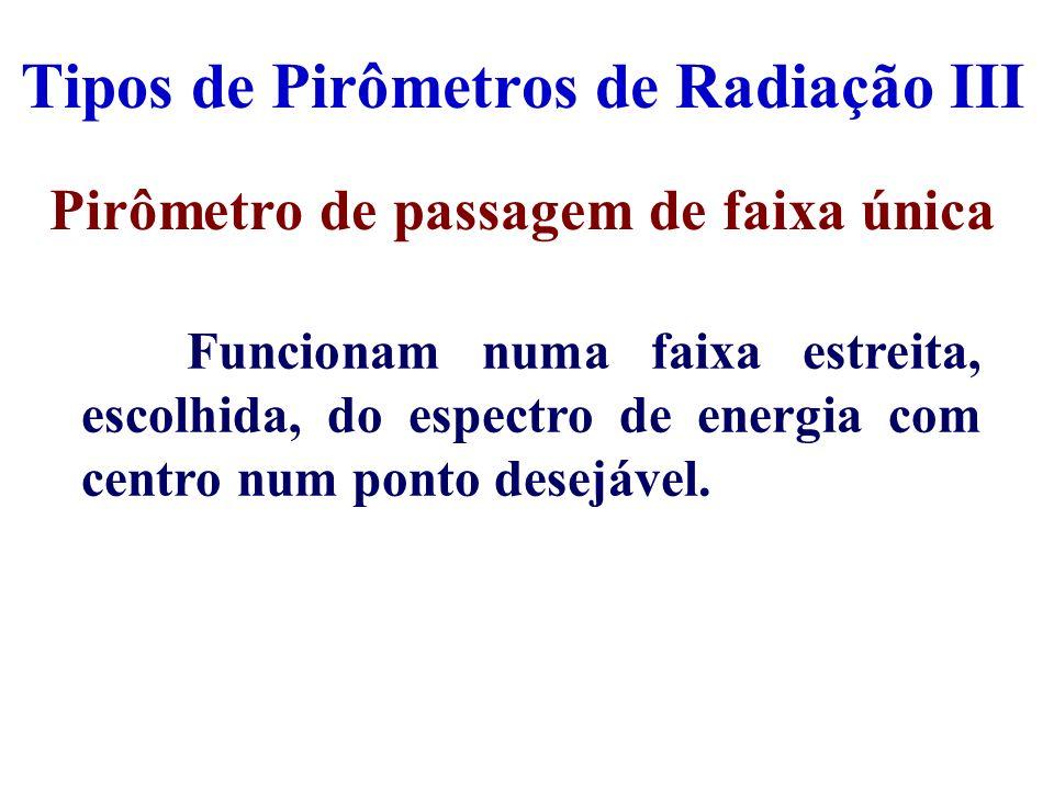 Tipos de Pirômetros de Radiação III Pirômetro de passagem de faixa única Funcionam numa faixa estreita, escolhida, do espectro de energia com centro n