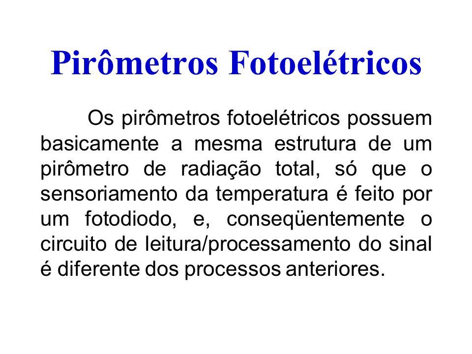 Pirômetros Fotoelétricos Os pirômetros fotoelétricos possuem basicamente a mesma estrutura de um pirômetro de radiação total, só que o sensoriamento d