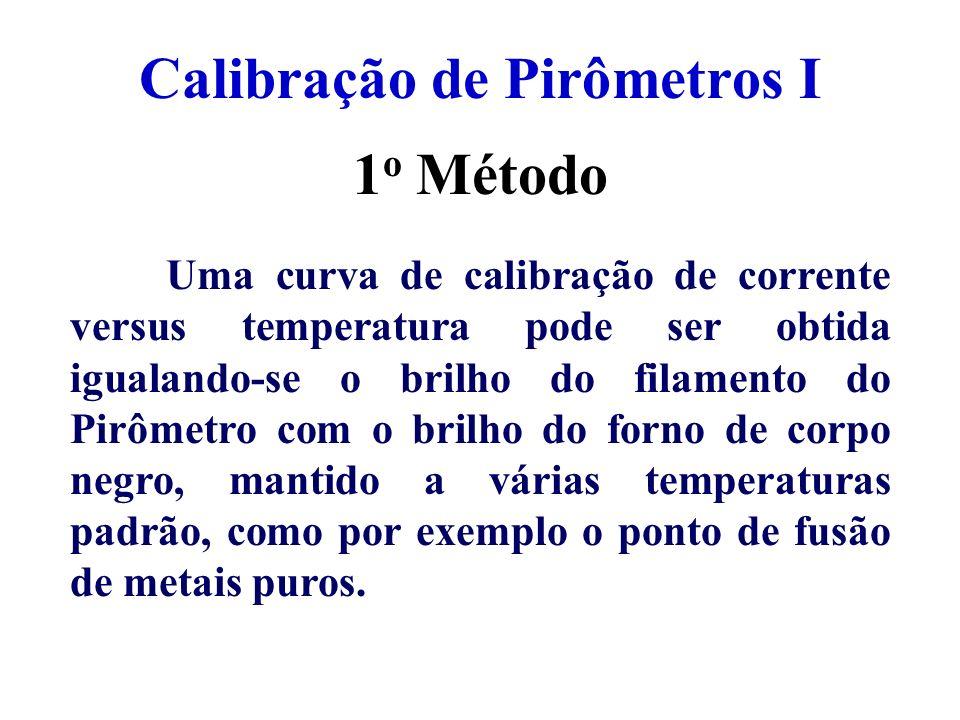 Calibração de Pirômetros I Uma curva de calibração de corrente versus temperatura pode ser obtida igualando-se o brilho do filamento do Pirômetro com