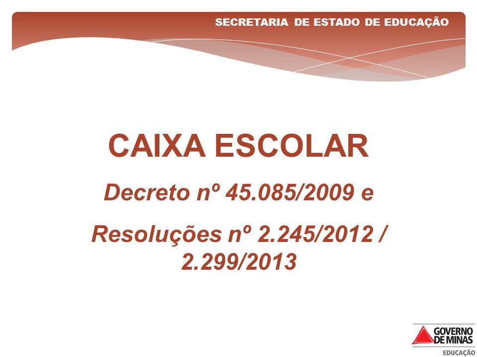 CAIXA ESCOLAR Decreto nº 45.085/2009 e Resoluções nº 2.245/2012 / 2.299/2013 SECRETARIA DE ESTADO DE EDUCAÇÃO