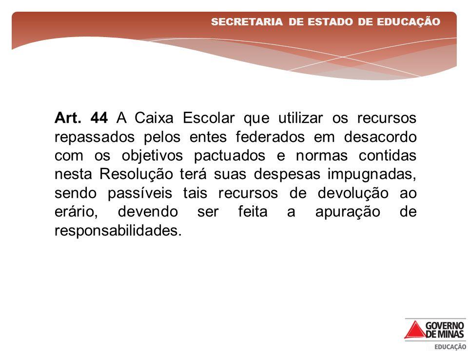 Art. 44 A Caixa Escolar que utilizar os recursos repassados pelos entes federados em desacordo com os objetivos pactuados e normas contidas nesta Reso