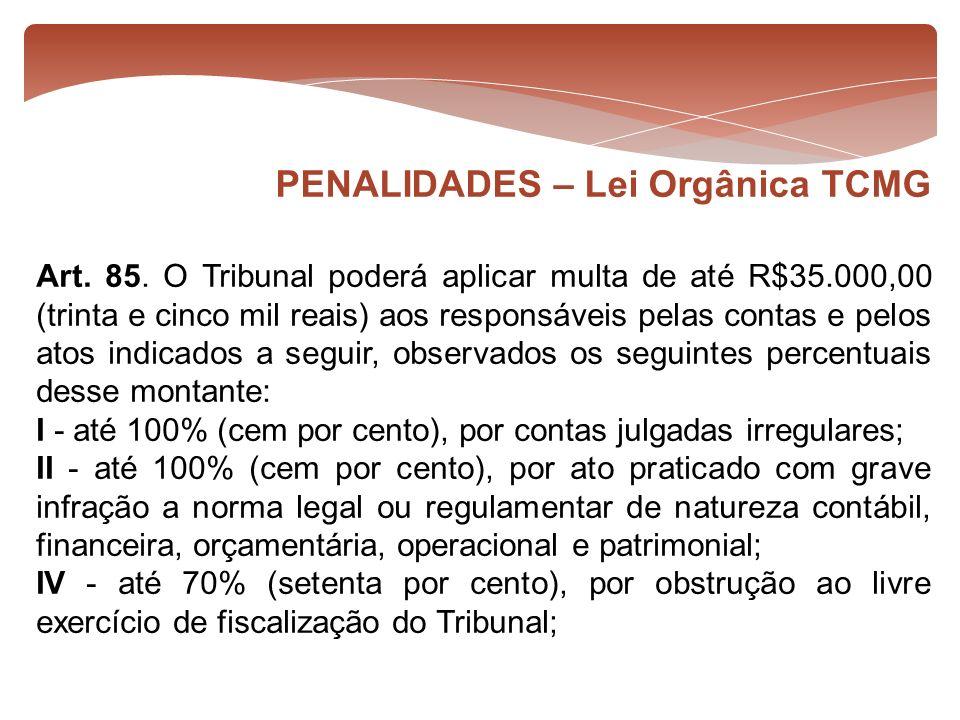 Art. 85. O Tribunal poderá aplicar multa de até R$35.000,00 (trinta e cinco mil reais) aos responsáveis pelas contas e pelos atos indicados a seguir,