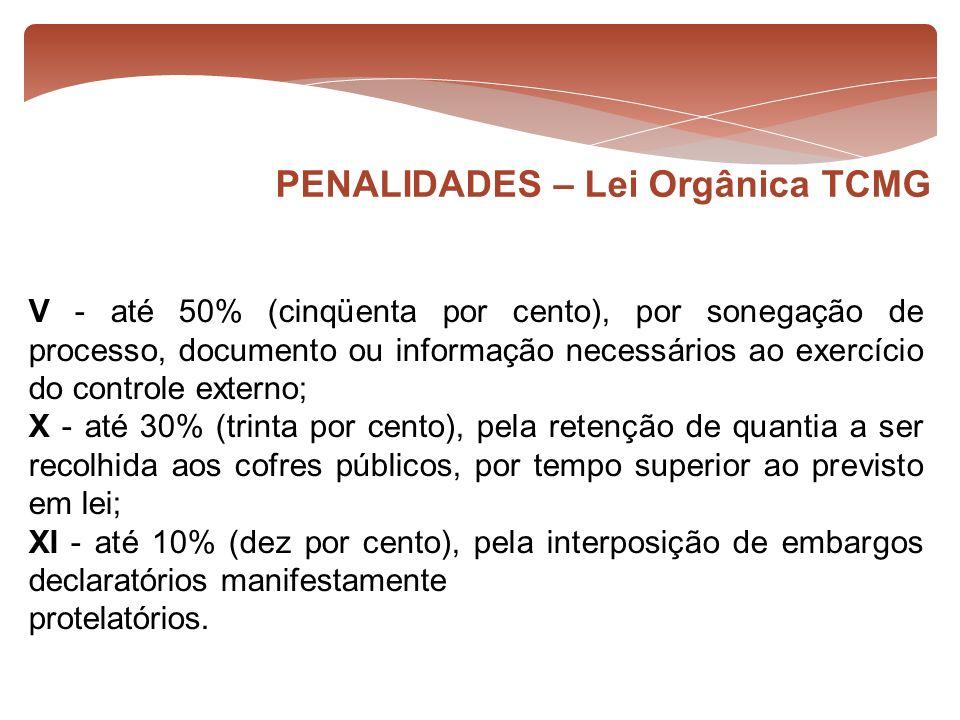 V - até 50% (cinqüenta por cento), por sonegação de processo, documento ou informação necessários ao exercício do controle externo; X - até 30% (trint