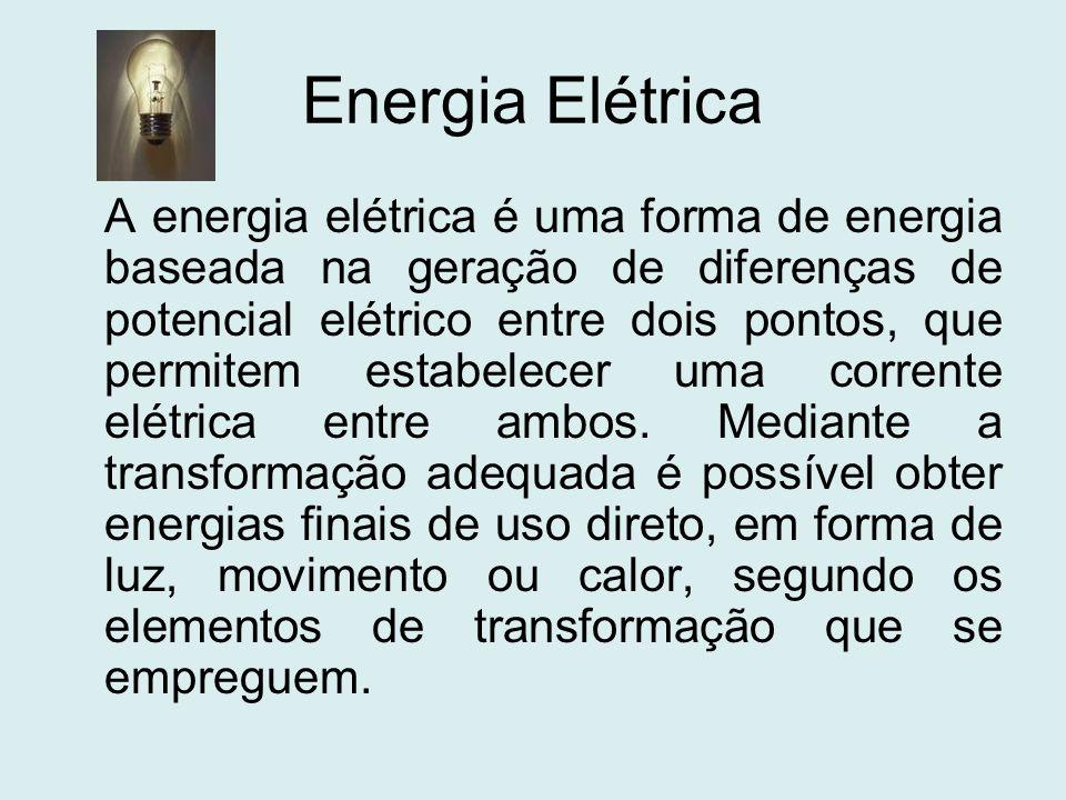 Energia Elétrica A energia elétrica é uma forma de energia baseada na geração de diferenças de potencial elétrico entre dois pontos, que permitem esta