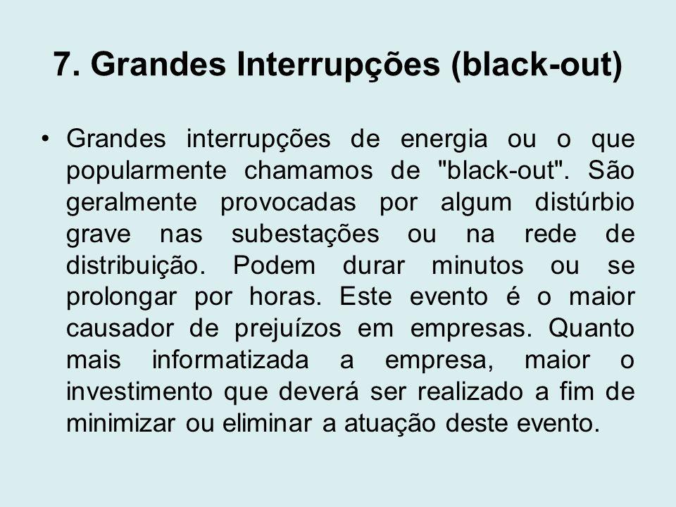 7. Grandes Interrupções (black-out) Grandes interrupções de energia ou o que popularmente chamamos de
