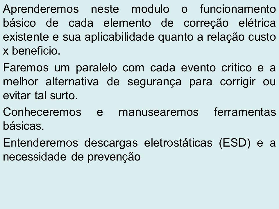 Aprenderemos neste modulo o funcionamento básico de cada elemento de correção elétrica existente e sua aplicabilidade quanto a relação custo x benefic