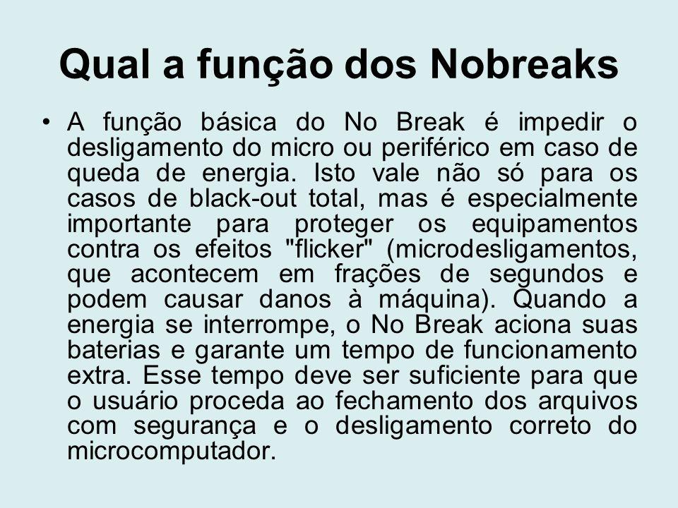 Qual a função dos Nobreaks A função básica do No Break é impedir o desligamento do micro ou periférico em caso de queda de energia. Isto vale não só p