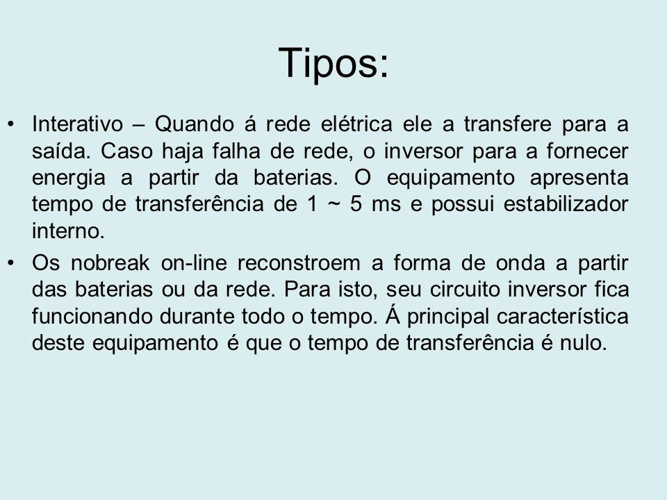Tipos: Interativo – Quando á rede elétrica ele a transfere para a saída. Caso haja falha de rede, o inversor para a fornecer energia a partir da bater