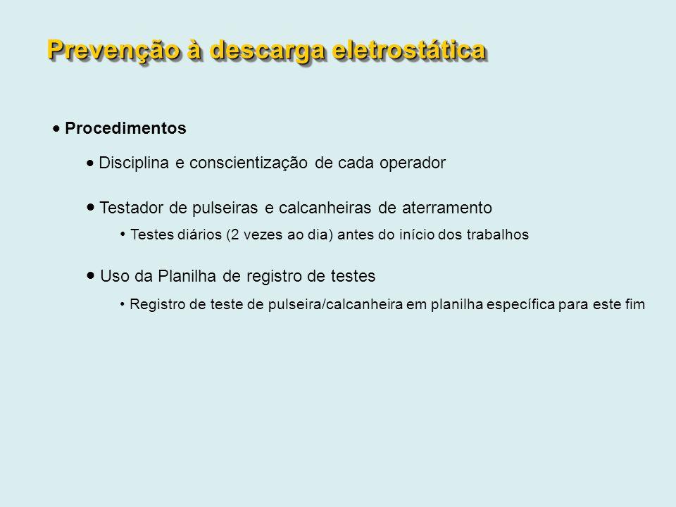 Procedimentos Disciplina e conscientização de cada operador Testador de pulseiras e calcanheiras de aterramento Testes diários (2 vezes ao dia) antes