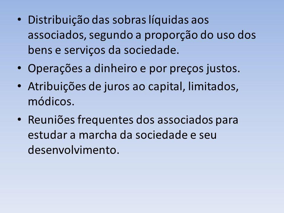 Distribuição das sobras líquidas aos associados, segundo a proporção do uso dos bens e serviços da sociedade. Operações a dinheiro e por preços justos